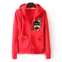 Watermelon Red Rabbit Pattern Long Sleeve Hooded Zipper Coat