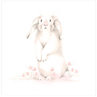Bunny with Flowers 1 Nursery Art Print - Sweet Blush