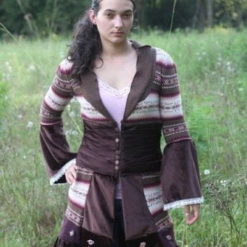 Brown  Pink Gypsy Sweater Coat reserved for Christina