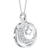 """Sterling Silver Crystal """"I Love You to the Moon and Back"""" Pendant"""