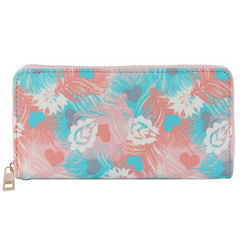 Blue Feather Print Vinyl Clutch Wallet Bag Accessory