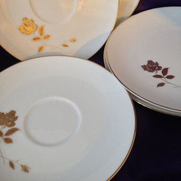 Noritake Tudor Rose 3 Saucers, 2 Bread Plates 6658, White Porcelain, Golden Single Rose Design, Lot of Five Replacement China, Disc'd 1960s