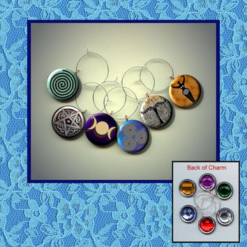 WICCA Goddess pagan signs symbols Set of 6 Altered Art Button WINE Glass Charms w/ Rhinestone