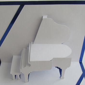 GRAND PIANO 3D Pop Up Card Origamic Architecture Home Decoration,  Handmade, Handcut, , in White and Bright Metallic Blue. OoAK.