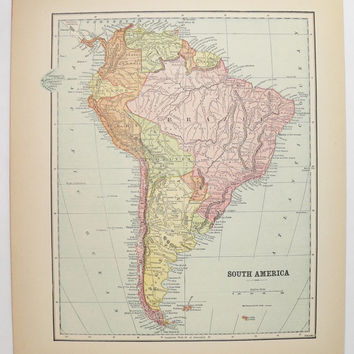 1896 South America Map, Vintage Decor Latin America Gift for Couple, Antique Map, South America 1st Anniversary Gift, Man Cave Decor Gift