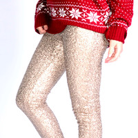 SZ LARGE Puttin' On The Glitz Gold Sequin Leggings