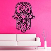 Wall Decor Vinyl Decal Sticker Indian Amulets Fatima Hand Hamsa Om Sign Bedroom Kids Room Nursery Ideas Living Room Home Interior Design Kg714