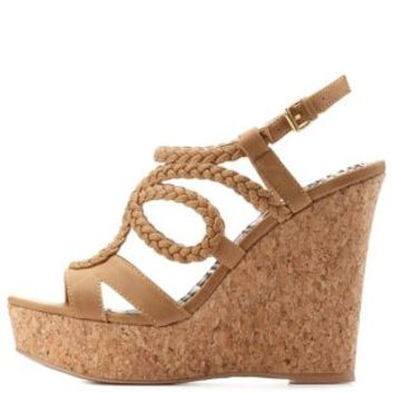 Camel Strappy Braided Platform Wedges by Charlotte Russe