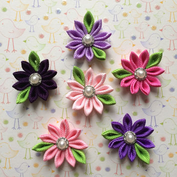"6 pieces 1 1/4"" flowers applique,kanzashi flower applique,scrapbooking,embellishment, card making,hair bows, gift wrapping,headbands,sewing."