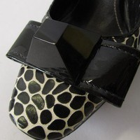 Sonia Rykiel Black and White Giraffe Print Sling Back Heels with Large Dome Bow