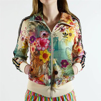 """Adidas"" Originals Women Flower print Zip Cardigan Jacket Coat Sweatshirt"