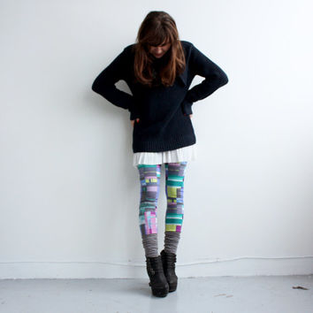 Short Short Leggings - Heather Grey Jersey and Cube Pattern Jersey - XS, S, M, L