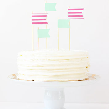 Cake Toppers Girl Birthday Party Pink and Mint Green Flag Topper Stripe Pennants Party Supplies Cake Decoration Girl Baby Shower / Set of 5