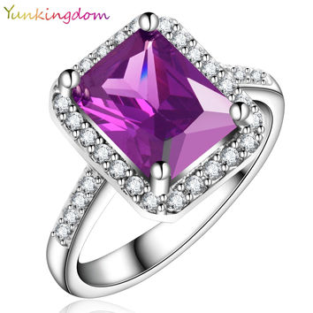 Yunkingdom NEW Vogue Square Design White Gold Plated Ring Cubic Zirconia Wedding Rings Amethyst Clothing & Accessories X0039