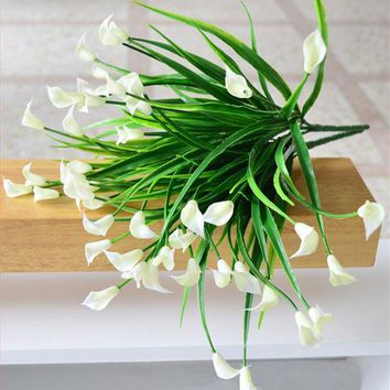 ESBONHS 25 heads/bouquet mini artificial calla leaf silk fake flower lily plastic Aquatic plants home decoration