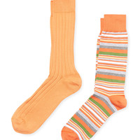 Solid And Printed Socks (2 Pack)