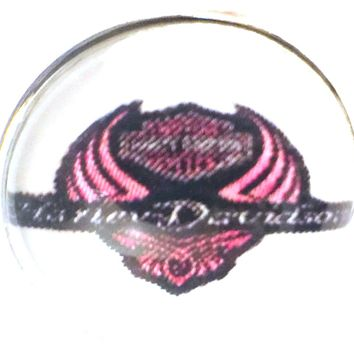 Harley Davidson Motorcycle Pink Wings & Shield Biker Babe 18MM - 20MM Snap Charm for Snap Jewelry