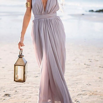 Gray Deep V-Neck Tie Waist Pleated Maxi Dress