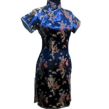 Navy Blue Traditional Chinese Women Dress Satin Short Qipao Vintage Button Dragon Cheongsam Plus Size 3XL 4XL 5XL 6XL