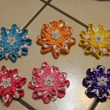 Three layer loopy Bright Color Flower  Hairbows- Every basic color to match with any outfit