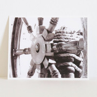 Nautical Wheel Black and White Photography by ShayaDesignStudio