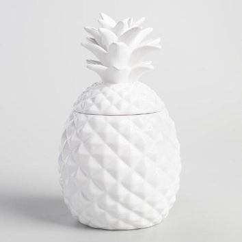 White Ceramic Pineapple Cookie Jar