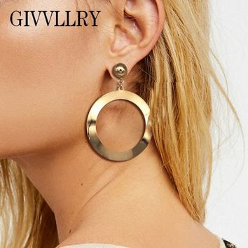 GIVVLLRY Elegant Big Round Drop Earrings Fashion Indian Jewelry Vintage Plain Metal Hollow Round Statement Earrings for Women