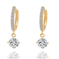 Gold/Silver Charm Crystal Stud Earrings Plated Women Jewelry Love