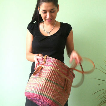 70s Woven Straw Purse,  Colorful Market Shopper, Boho Striped Jute Bag, Hippie Shoulder Bag in Purple, Pink and Green, Tribal Beach Basket