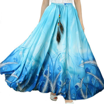 2016 New Fashion Summer Women Full Skirt Real Peacock Feather Elastic Waist Expansion Bottom Printed Long Chiffon Skirt