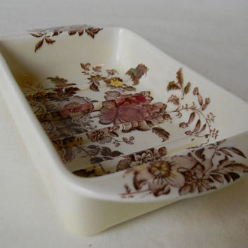 Vintage Brown Polychrome Transferware  Rectangle Shaped Tab Handled Soap Dish Plate Charlotte Basket of Roses