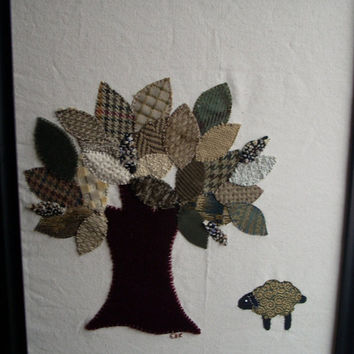 Tree and Sheep Framed Wall Art