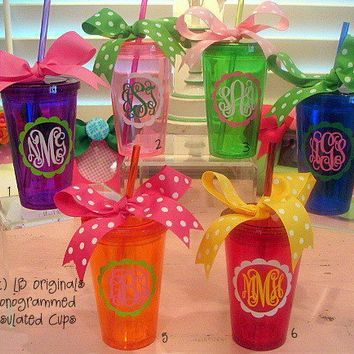 Personalized 16oz Insulated Colored Acrylic by preppypapergirl