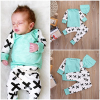 Newborn Baby Boys Girls Clothes Set Outfits Cotton T-shirt Long Sleeve Tops Print Pants Hat 3PCS Set Baby Girl Clothes