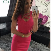 Women's Summer Dress Bodycon V-neck Cross Sleeveless Ladies Sexy Slim Mini Dress