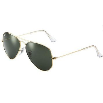 CREYDC0 Ray-Ban Men's Aviator 3025 Sunglasses Gold Frame/Green G-15xlt Lens- 55mm