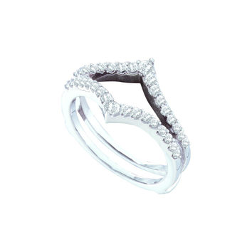 14kt White Gold Womens Round Diamond Ring Guard Wrap Enhancer Wedding Band 1/2 Cttw 46753