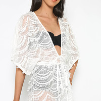 Mondrian Lace Playsuit - White