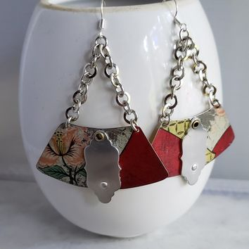 Red Floral Vintage Tea Tin Earrings in Silver