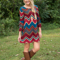 Falling For You Dress - Burgundy/Blue