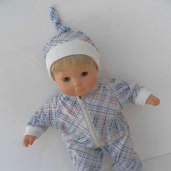 """Bitty Baby Doll Clothes Twin Boy, Girl, or Baby Doll 15"""" American Girl Blue White Orange Stripe Cotton Knit Pant Romper Hat Cap 2 pc"""