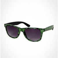 Green Leaf All Over Shiny Sunglasses - Spencer's