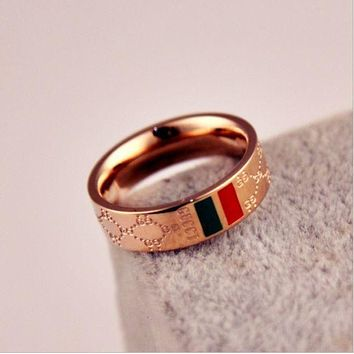 DCCK7HE Perfect GUCCI Woman Fashion Lettering Plated Ring Jewelry