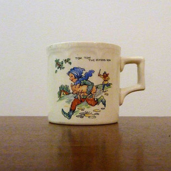 "Vintage Early Century Porcelain Mug Cup ""Tom Tom The Pipers Son"" Made By Royal Art Pottery England / Antique Nursery Rhyme Baby's Cup"