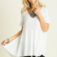 Umgee USA Off White Fringe Front Tunic Top