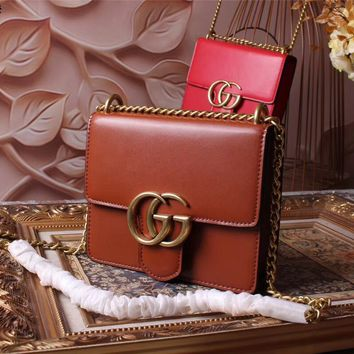 GUCCI WOMEN'S 2018 NEW STYLE LEATHER GG MARMONT INCLINED CHAIN SHOULDER BAG