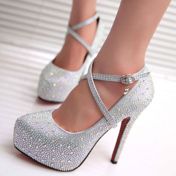 Discount White Bridal Shoes Red Bottoms High Heels Thin Heel Glass Slipper Noble And Elegant Buckle Rhinestone Best Seller
