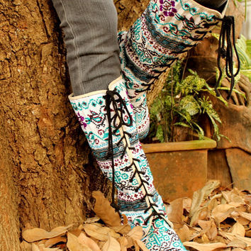 Anja Boot in Blue Birds, Hmong Embroidery & Batik Lace Up Knee High Wedge Heel