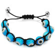 Adjustable Length Blue Evil Eye Bracelet with Black Cord from 6 1/2 to 9 inches