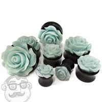 Mint Green Rosebud Black Plugs